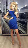 Женское синие платье без рукава приталенное