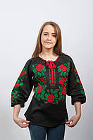 Черная льняная вышиванка с красными розами