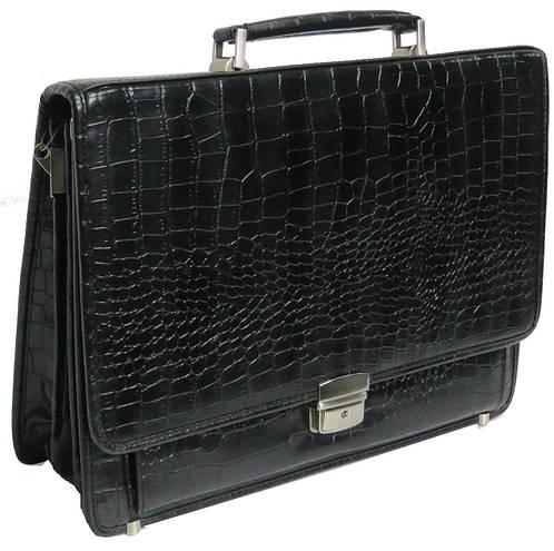 Оригинальный мужской портфель из искусственной кожи под крокодила черный 276 black