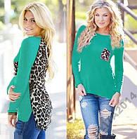 Блузка трикотаж леопардовая спинка шифон