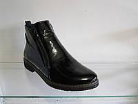 Ботинки женские зимние кожаные лакированные
