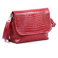 Кожаная женская сумочка через плечо, красный кайман