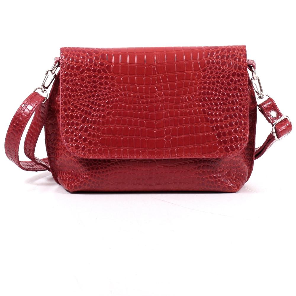 Кожаная женская сумочка 09 красный кайман 01090207