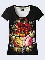 """3Д Футболка-вышиванка женская """"Хохлома"""" черного цвета с ярким цветочным рисунком. Вышиванка женская."""