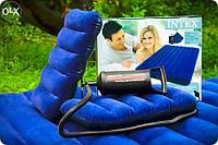 Двухместный надувной матрас Intex 152х203х22 см. + 2 подушки и ручной насос