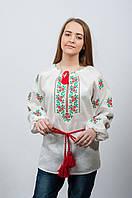 Женская украинская вышиванка Розочки красно-зеленая вышивка, фото 1