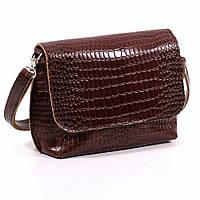 Кожаная женская сумочка коричневый кайман