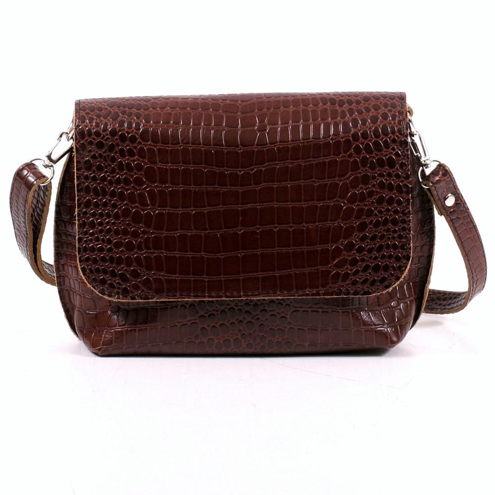 Кожаная женская сумочка 09 коричневый кайман 01090206