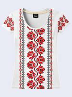 """Праздничная женская белая футболка с 3d рисунком """"Украинская вышиванка"""" из легкой ткани, размеры 42-50."""