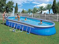 Каркасно-надувной овальный бассейн Oval Fast-Set Bestway 56164, 853х366х122 см, фото 1