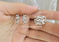 Набор серьги + кольцо серебро 925, фото 1