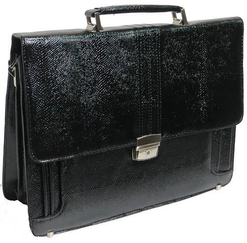 Оригинальный мужской портфель из искусственной кожи под змею черный B6801 black