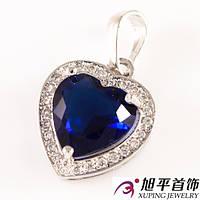 Кулон родиум 'Сердце-камень в оправе мелк. камн.'