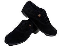 Туфли женские комфорт натуральная замша черные на шнуровке (Т 03)