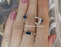 Набор серебряный серьги + кольцо, фото 1