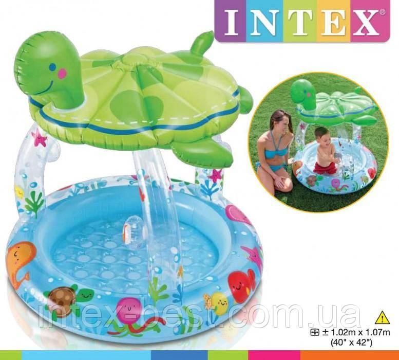 Детский надувной бассейн с навесом Морская черепаха Intex 57119