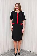 Черное платье делового стиля с красными вставками 54, фото 1