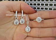 Набор Круги серьги + кольцо + подвес серебро 925