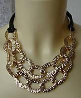 Ожерелье колье модное стильное цепи металл ювелирная бижутерия 5984