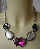 Ожерелье колье с подвесками модное металл цветные кристаллы ювелирная бижутерия 5986