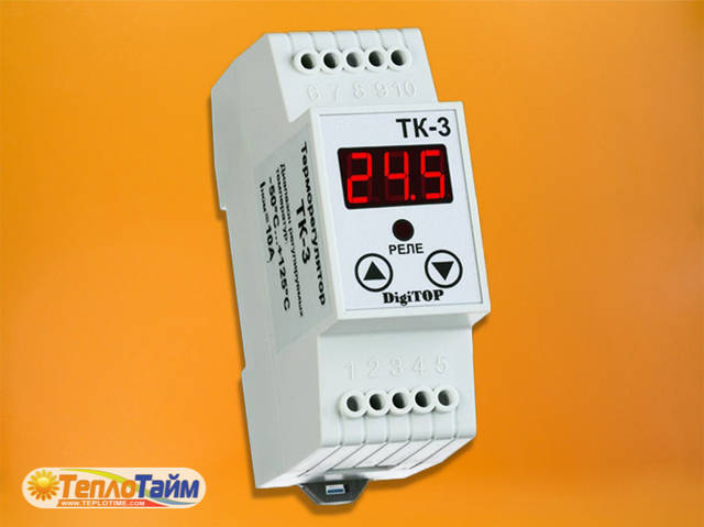 Одноканальний циф.терморегулятор DigiTOP ТК-3 з датчиком DS18B20, (одноканальный циф. терморегулятор)
