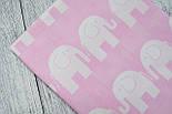 Лоскут ткани №67  слоны на розовом фоне, размер 43*84 см, фото 2