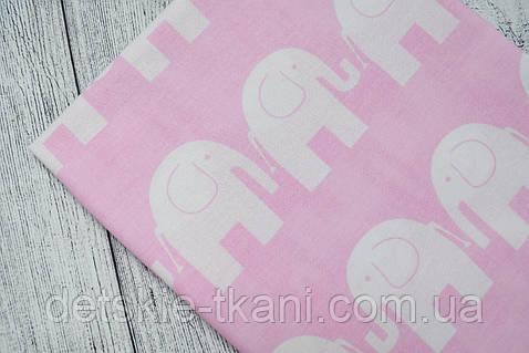 Лоскут ткани №67  слоны на розовом фоне