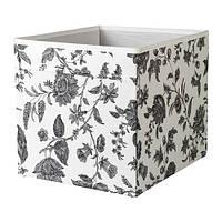 DRÖNA Коробка, цветочный узор, черный/ белый