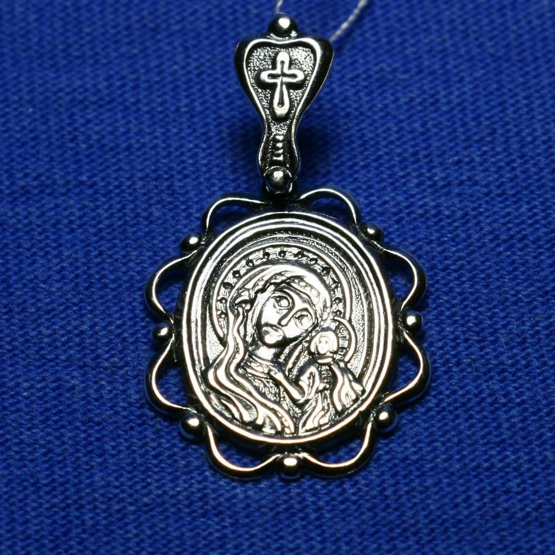 Серебряная подвеска Божией матери с сыном 3114-ч, фото 1