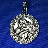 Иконка из серебра с фианитом Богородица 3740-ч, фото 1