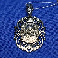Серебряный образок Богородицы с фианитом 37805-ч, фото 1