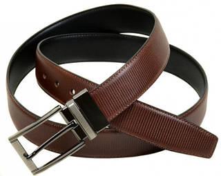 Бесподобный мужской кожаный двухсторонний ремень Z350505 brown-black