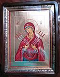 Иконы в деревянном киоте. Икона писаная Семистрельная Божья Матерь (Умягчение злых сердец) 33х23х3см, фото 5