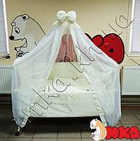 Жаккард с Вышивкой комплект детского постельного белья 9 в 1+Держатель для балдахина в подарок!
