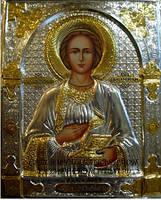Икона с серебром и позолотой Святой Пантелеймон Целитель