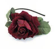 Обруч для волос с розой велюр металл/ткань - ширина 0,5 см * Ø 12,0 см.