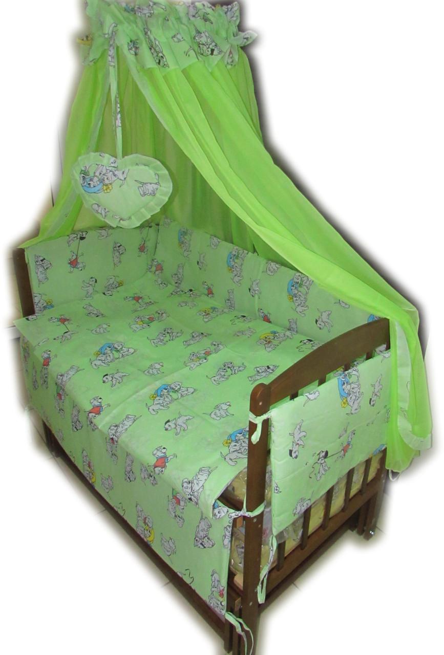 """Постельный комплект Поликотон в детскую кроватку """"Далматинцы"""" салатовый.  8 элементов"""