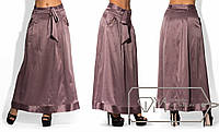 Шелковая юбка макси однотонная  с карманами