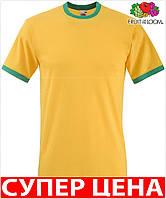 Мужская футболка комбинированная с окантовкой приталенная 100% хлопок Цвет Солнечно-Жёлтый/Ярко- Зелёный Размер M 61-168-Am M