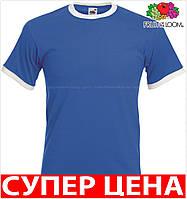 Мужская футболка комбинированная с окантовкой приталенная 100% хлопок Цвет Ярко-Синий/Белый Размер XL 61-168-Kb Xl
