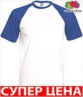 Мужская футболка комбинированная и приталенная  100% хлопок Цвет Белый/Ярко-Синий Размер M 61-026-Aw M