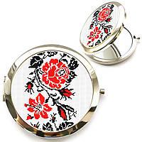 Женское карманное зеркало «Вышиванка роза»