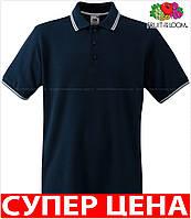 Мужская поло рубашка комбинированная с окантовкой 100% хлопок Цвет Глубокий Тёмно-Синий/ Белый Размер XXXL 63-032-85 3xl