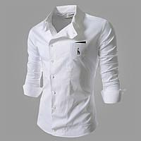 Мужская белая рубашка на запах