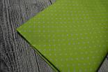 Отрез ткани №97а с мелким горошком на салатовом фоне, размер 85*160, фото 2