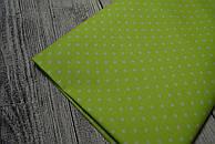 Лоскут ткани №97а с мелким горошком на салатовом фоне