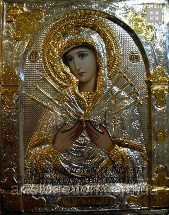 Икона Семистрельная Пресвятая Богородица в серебряном окладе