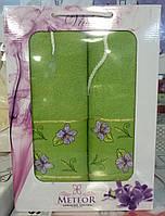 Набор махровых полотенец METEOR в подарочной упаковке.Зеленый.