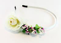 Обруч для волос с розой металл/ткань - ширина 0,6 см * Ø 12,0 см.