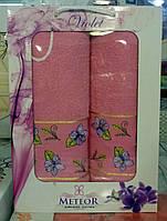 Набор махровых полотенец METEOR в подарочной упаковке. Розовый.